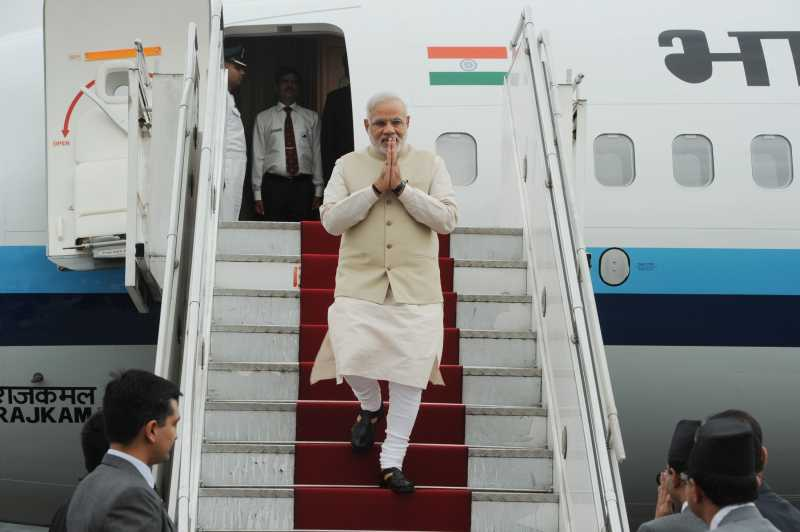 Prime Minister Mr Narendra Modi arriving at Tribhuvan International Airport, Kathmandu, in Nepal .