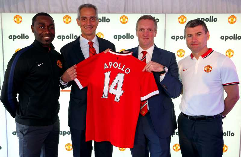 Marco Paracciani (Apollo), Denis Irwin, Andrew Cole and Jonathan Rigby (Manchester United) opening the new recycled tyre rubber pitch at Old Trafford.