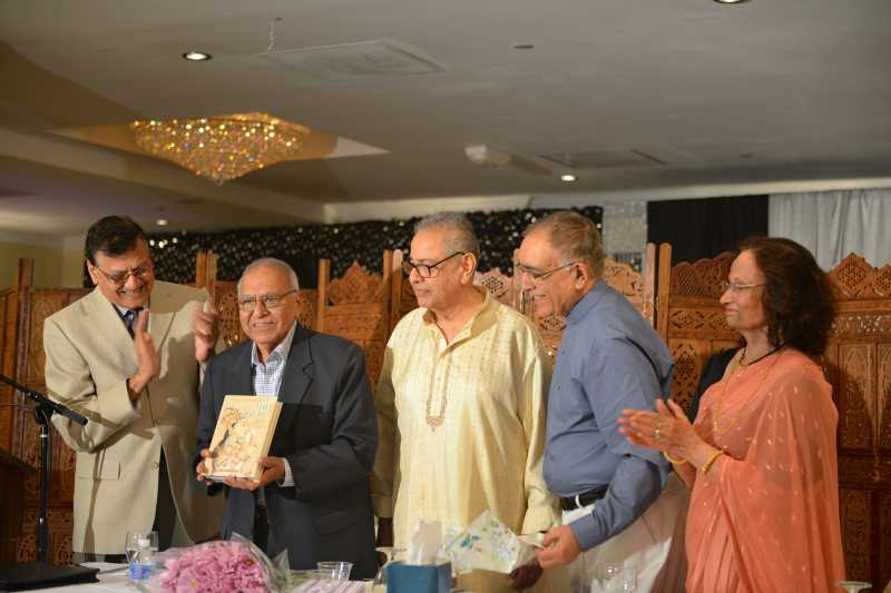 "Former Sahitya Akademi President Gopi Chand Narang (second from left) releasing ""The Treasure"", a free verse translation of Ghalib's poems by Surinder Deol (Second from right)"