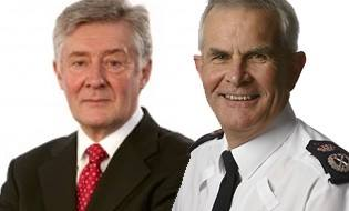 Greater Manchester Chief Constable Sir Peter Fahy (r) with Crime Commissioner Tony Lloyd
