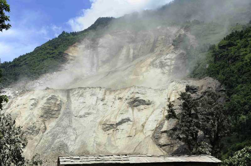 Photo shows the landslide that occurred in Sindupalchowk, Nepal. The landslide hit Nepal's eastern hilly region at around 2 a.m. Saturday, killing eight people, while over 300 people remain missing, as locals and police said