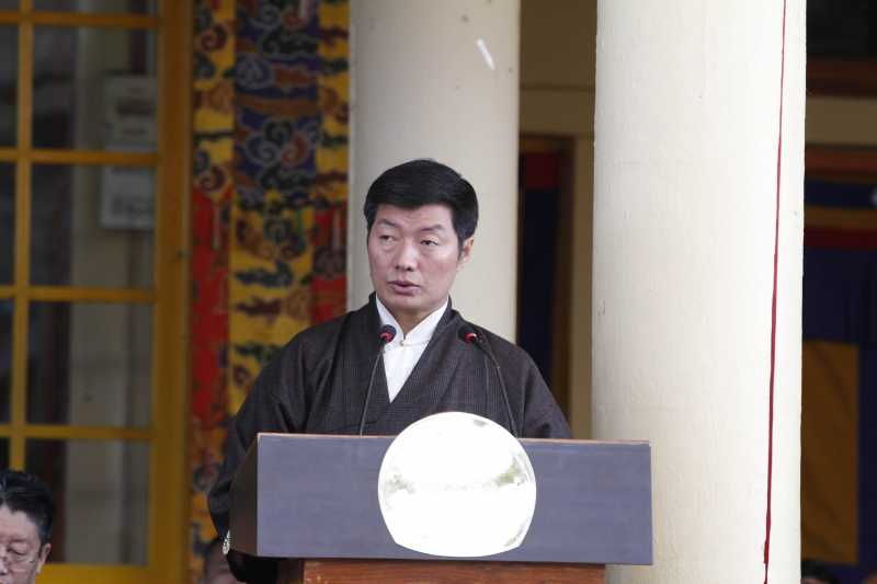 Tibetan government-in-exile Prime Minister Lobsang Sangay addresses during a programme held to commemorate 24th anniversary of the conferment of the Nobel Peace Prize to Dalai Lama, at Tsugla Khang Temple of McLeod Ganj in Dharamsala