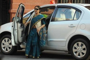 External Affairs Minister Sushma Swaraj arrives at the Parliament in New Delhi on Aug 13, 2014. (Photo: IANS)