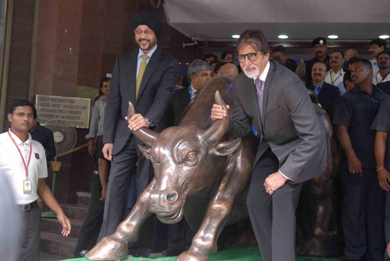 Actor Amitabh Bachchan rings the bell during an event organized to promote the upcoming television serial 'Yudh' at the Mumbai Stock Exchange (BSE)