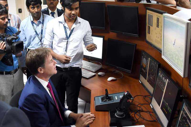 Britain's Deputy PM, Nick Clegg during a visit to Airbus India facility in Bangalore on Aug 27, 2014. (Photo: IANS)