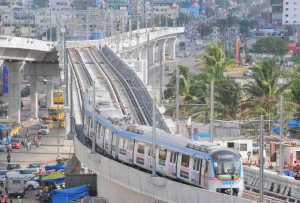 A metro train runs for the first time between Nagole Depot and Survey of India Station to test alignment, tracks, signalling and communication on the route in Hyderabad on Aug 8, 2014. (Photo: IANS)