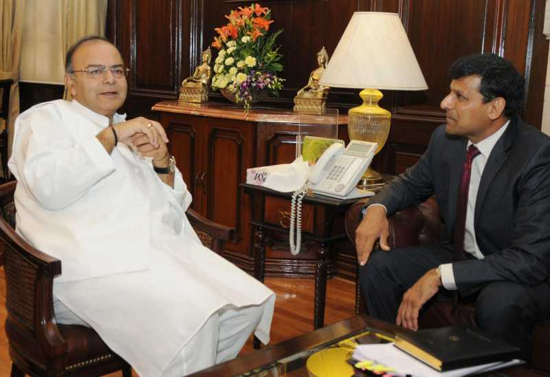 Union Finance Minister Arun Jaitley with Reserve Bank Governor Raghuram Rajan in New Delhi