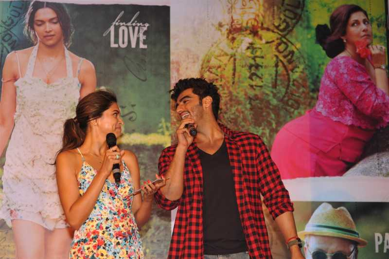 Actors Deepika Padukone and Arjun Kapoor during the song launch of film Finding Fanny in Mumbai.