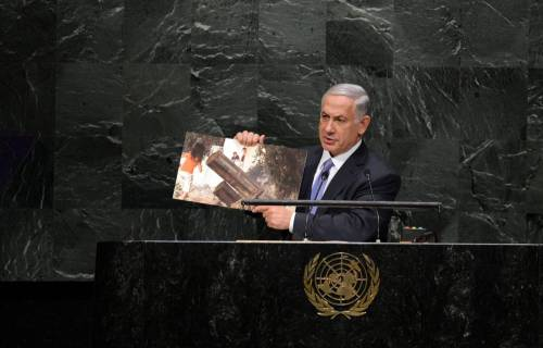 "(140929) -- NEW YORK, Sept. 29, 2014 (Xinhua) -- Israeli Prime Minister Benjamin Netanyahu speaks during the general debate of the 69th session of the United Nations General Assembly, at the UN headquarters in New York, on Sept. 29, 2014. Israeli Prime Minister Benjamin Netanyahu on Monday lashed out at militant Islamists in a speech at the United Nations, saying Palestinian militant group Hamas and the Islamic State (IS) ""share a fanatical creed"". (Xinhua/Yin Bogu)"