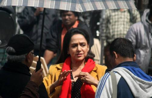 Actress turned politician Hema Malini during shooting of Ramesh Sippy's upcoming film Shimla Mirchi at Ridge in Shimla on Sept. 28, 2014. (Photo: IANS)