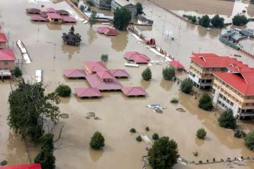 An aerial view of flood affected areas of Srinagar taken from an IAF helicopter