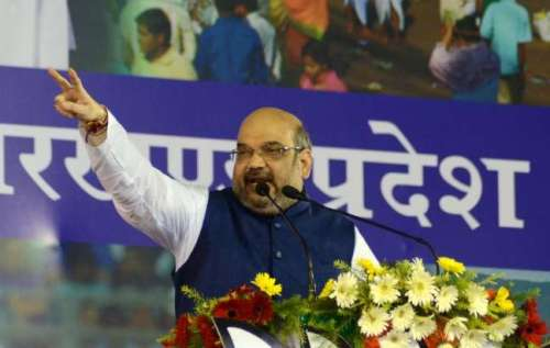 BJP chief Amit Shah addresses a rally in Ranchi on Sept 8, 2014. (Photo: IANS)