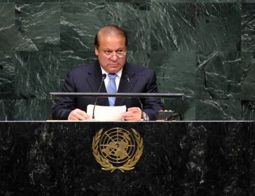 Pakistan's Prime Minister Muhammad Nawaz Sharif speaks during the general debate of the 69th session of the United Nations General Assembly, at the UN headquarters in New York, on Sept. 26, 2014.