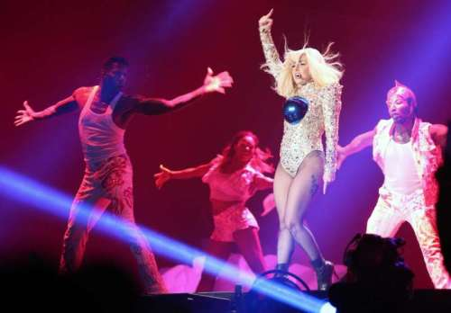 American singer, songwriter, and actress Lady Gaga performs during a concert in Dubai, United Arab Emirates on Sept. 10, 2014. (Photo: Xinhua/Li Zhenshe/IANS)
