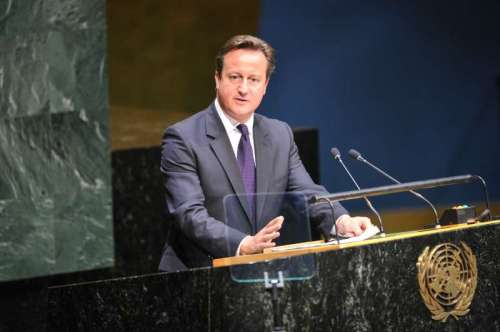 British Prime Minister David Cameron speaks during the general debate of the 69th session of the United Nations General Assembly, at the UN headquarters in New York