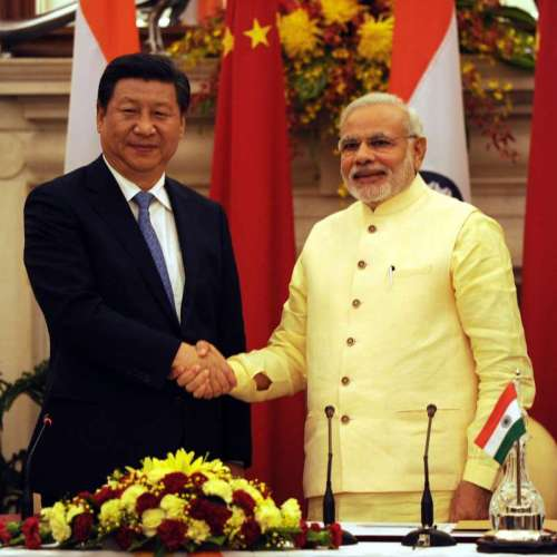 Prime Minister Narendra Modi with Chinese President Xi Jinping during a press conference at Hyderabad House in New Delhi