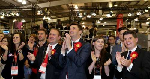 """The """"No"""" campaign supporters cheer for the latest polling results of Scottish Independence Referendum in Royal Highland Centre, Edinburgh, Scotland"""
