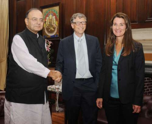 Union Minister for Finance, Corporate Affairs and Defence Arun Jaitley during a meeting with Microsoft cofounder Bill Gates and Melinda Gates in New Delhi