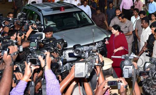 Tamil Nadu Chief Minister J Jayalalithaa arrives to meet the accident victims who were injured after a portion of a 11-storey under construction building collapsed at Moulivakkam in Chennai Saturday evening, on June 29, 2014. (Photo: IANS)