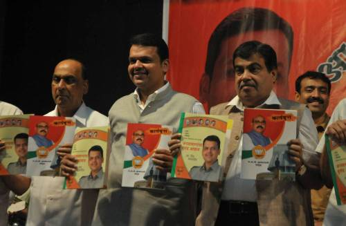 Union Minister for Road Transport & Highways and Shipping, Nitin Gadkari and Maharashtra BJP chief Devendra Fadnavis release party's manifesto for upcoming Maharashtra assembly elections scheduled to be held  in Nagpur