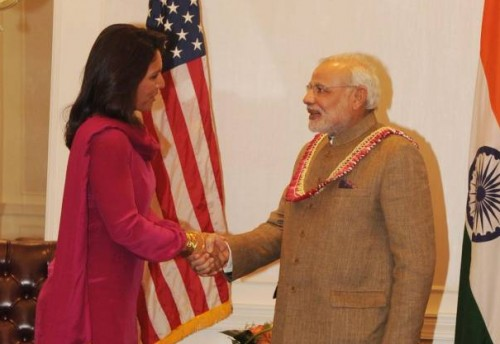 Member of House of Representatives of the United States, Tulsi Gabbard calls on Prime Minister Narendra Modi in New York, United States of America. FILE PHOTO