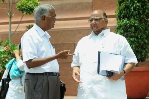 NCP chief Sharad Pawar at the Parliament premises in New Delhi on July 17, 2014. (Photo: IANS)