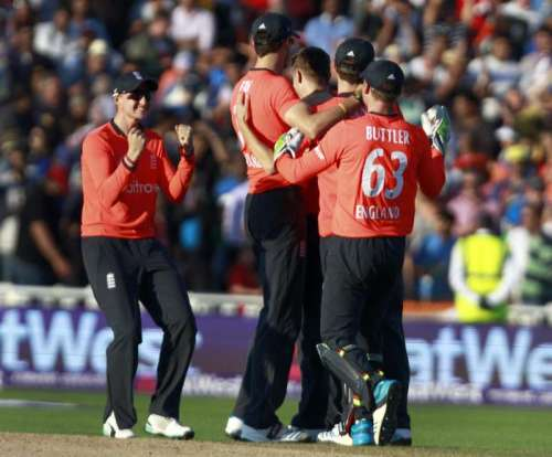 England players celebrate after defeating India in the lone T20 match played at Edgbaston, Birmingham
