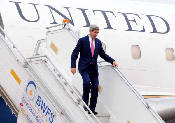 U.S. Secretary of State John Kerry arrives at Air Force Station, Palam in New Delhi on July 30, 2014. (Photo: IANS)