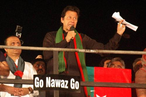 Pakistani opposition leader Imran Khan addresses his supporters at an anti-government protest in eastern Pakistan's Lahore on Sept. 28, 2014. Supporters of Pakistan's two opposition leaders, Imran Khan of Pakistan Tehrik-e-Insaf and Tahir ul Qadri of Pakistan Wami Tehrik attended the sit-in protest in Islamabad, demanding resignation of Prime Minister Nawaz Sharif and fresh polls.