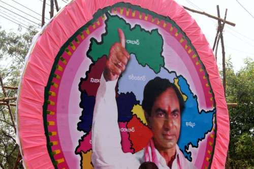Cutouts and posters of Telangana Rashtriya Samiti (TRS) chief K Chandrasekhar Rao before he is sworn in as Chief Minister of Telangana in Hyderabad on May 31, 2014. (Photo: IANS)
