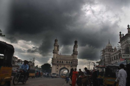 Dark clouds loom over Charminar in Hyderabad