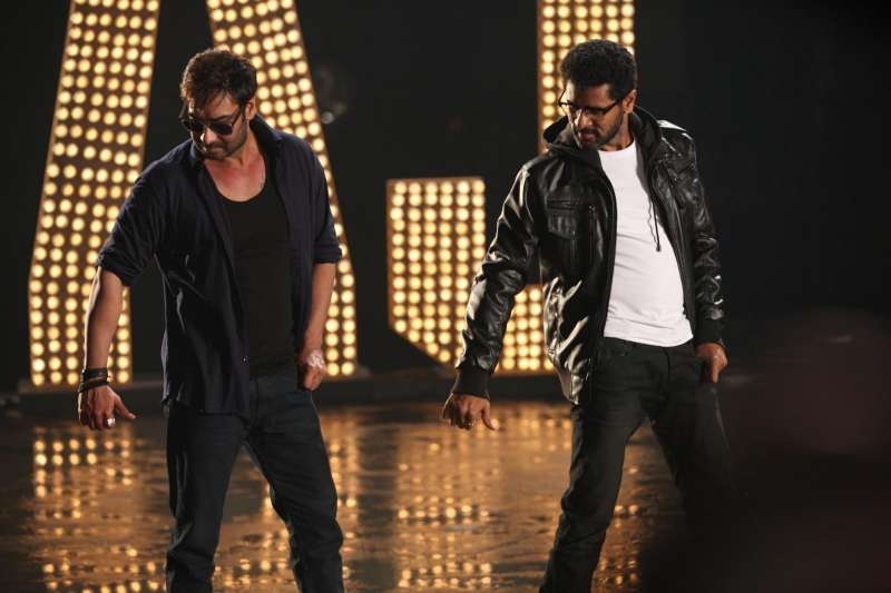 Actor Ajay Devgan and Indian film actor, director and dance choreographer Prabhu Deva on the sets of their upcoming film `Action Jackson`. (Photo: IANS)