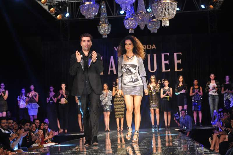 Kangana Ranaut show-stopper showcases a creation by Vero Moda launch of the Marquee collection by Karan Johar, in Mumbai, on September 19, 2014. (Photo: IANS)