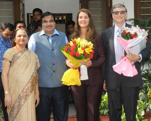 Chairman of BMGF Foundation, Bill Gates along with Melinda Gates calls on Union Minister for Road Transport & Highways and Shipping, Nitin Gadkari, in New Delhi