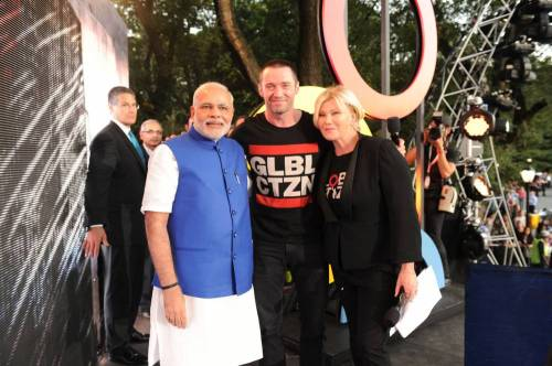 Modi with the host of the Global Citizen Festival, Mr. Real Hugh Jackman, at Central Park, in New York