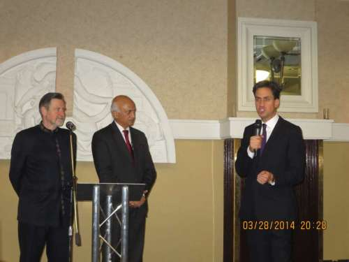 Ed Miliband addressing the meeting as High Commissioner Mr. Ranjan Mathai, Labour Friends of India chairman Barry Gardiner MP look on
