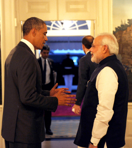 The President Barack Obama of the United States welcomes the Prime Minister, Shri Narendra Modi, at the dinner hosted in his honour, at the White House, in Washington FILE PHOTO