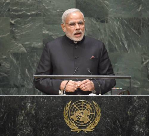 The Prime Minister, Shri Narendra Modi addressing the 69th Session of the United Nations General Assembly, in New York on September 27, 2014.