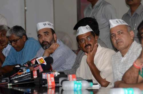 Aam Aadmi Party (AAP) leaders Ashutosh, Gopal Rai, Arvind Kejriwal,and Manish Sisodia during a press conference in New Delhi