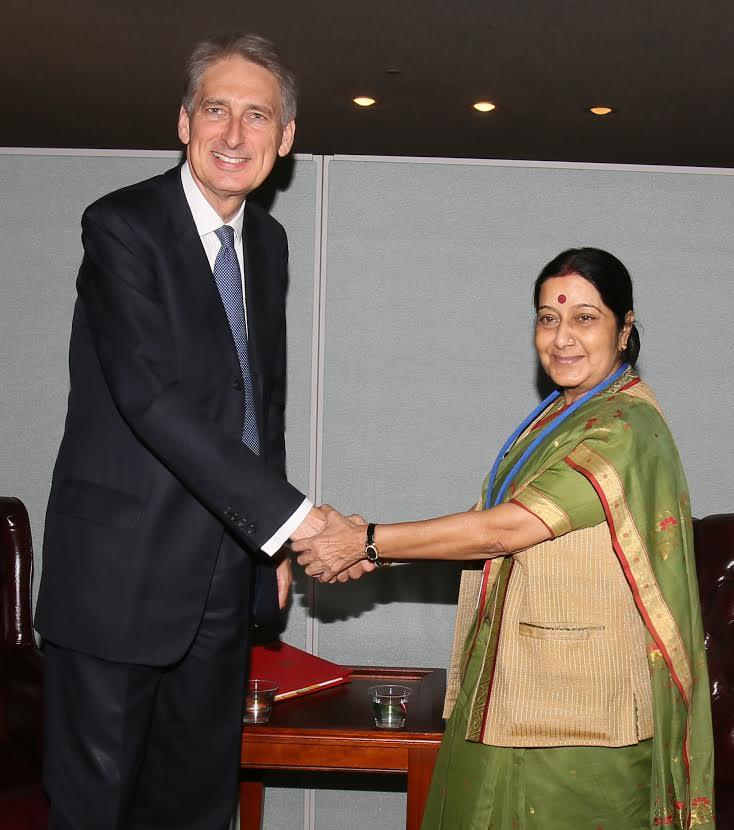 External Affairs Minister Sushma Swaraj during a meeting with Foreign Secretary of United Kingdom, H.E Philip Hammond on the sidelines of 69th UNGA in New York, United States of America. (Photo: IANS)