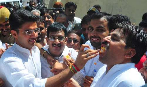 Rajasthan Congress chief Sachin Pilot celebrates party's victory in the recently concluded bypolls in Jaipur.
