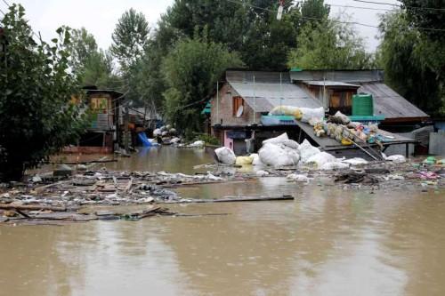 Flood affected areas in Srinagar after heavy rains .