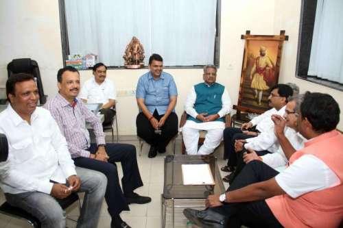 Maharashtra BJP chief Devendra Fadnavis and party leaders O.P. Mathur, Eknath Khadse, Vinod Tawde during a meeting with Shiv Sena leaders Subhash Desai, Sanjay Raut, Milind Narvekar and others at BJP office in Mumbai