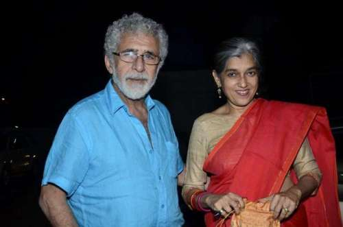 Naseeruddin Shah with his wife and actor Ratna Pathak during the special screening of film Finding Fanny in Mumbai on Sept 7, 2014. (Photo: IANS)