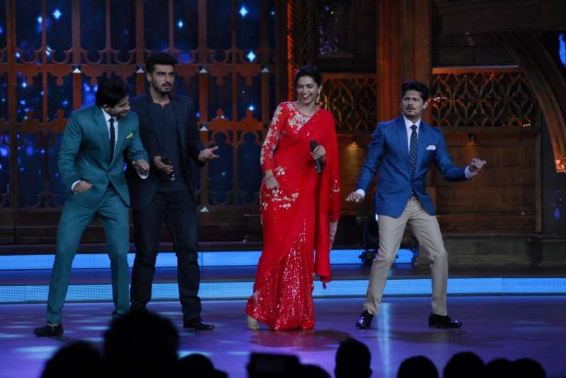 Actors Deepika Padukone and Arjun Kapoor on the sets of Zee Cine Star Ki Khoj for the promotion of the film Finding Fanny in Mumbai