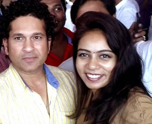 Cricket legend Sachin Tendulkar with singer M.M. Srilekha at the launch of Kerala Blasters' -Indian Super League football franchise - theme song in Kochi