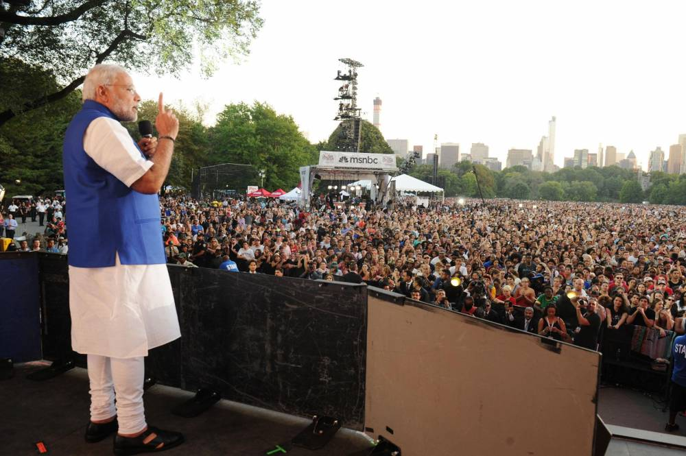 Prime Minister Narendra Modi addresses during Global Citizen Festival at the Central Park, in New York, United States of America. FILE PHOTO