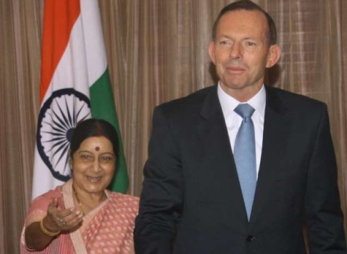 External Affairs Minister Sushma Swaraj with Australian Prime Minister Tony Abbott during a meeting in New Delhi