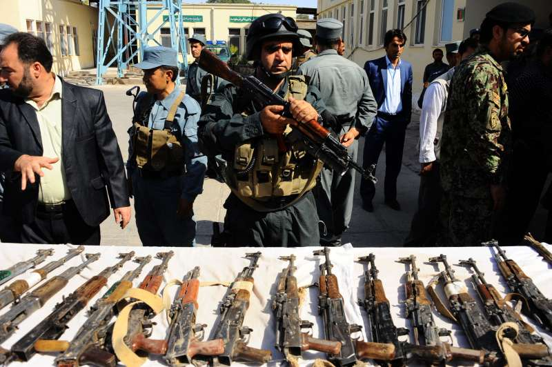 Afghan security forces display weapons captured from Taliban militants in Herat Province, western Afghanistan (File)