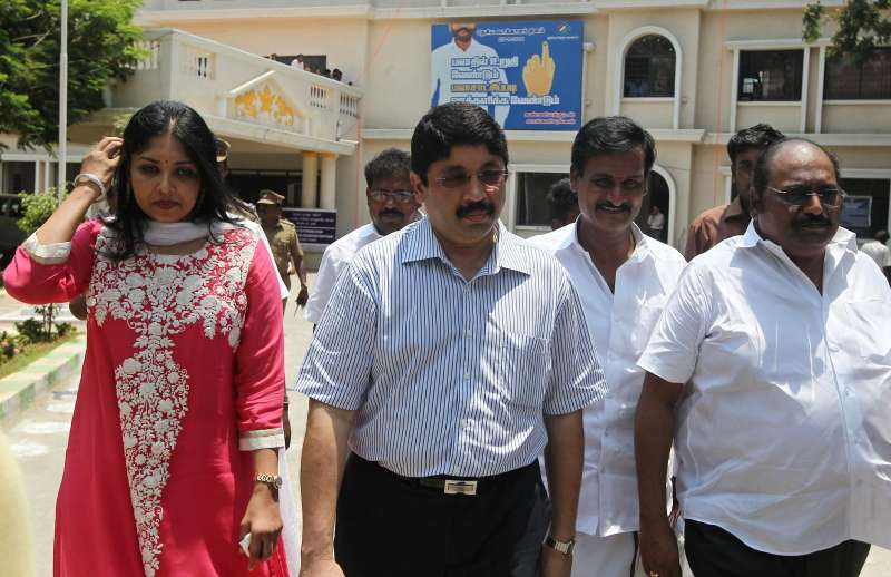 Former Telecom minister Dayanidhi Maran along wife in the campaign trail